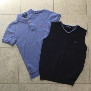 RALPH LAUREN navy blue vest & polo shirt 8/10 S
